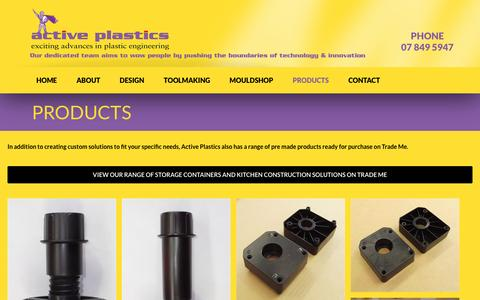 Screenshot of Products Page activeplastics.co.nz - Custom Plastics Products - captured May 29, 2017