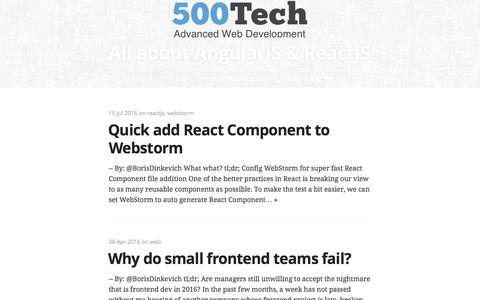 Screenshot of Blog 500tech.com - All about AngularJS & ReactJS - captured Aug. 17, 2016