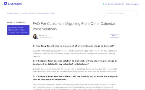 Screenshot of Support Page outreach.io - FAQ For Customers Migrating From Other Calendar Point Solutions – Outreach Support - captured Dec. 11, 2018