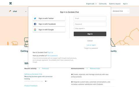 Screenshot of Support Page zendesk.com - Zendesk Chat - captured Aug. 5, 2018