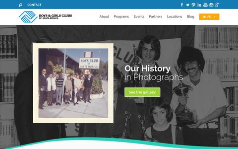 Screenshot of Home Page smbgc.org - Boys & Girls Clubs of Santa Monica | Lighting the way to great futures! - captured Feb. 8, 2016