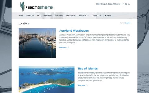 Screenshot of Locations Page yachtshare.co.nz - Yacht Charter Locations in Auckland, New ZealandYachtShare - captured May 27, 2017