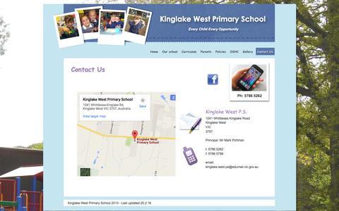 Screenshot of Contact Page kinglakewestps.vic.edu.au - contact - captured June 23, 2016