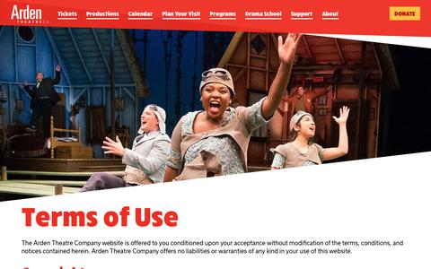 Screenshot of Terms Page ardentheatre.org - Terms of Use - Arden Theatre Company - captured Oct. 4, 2018