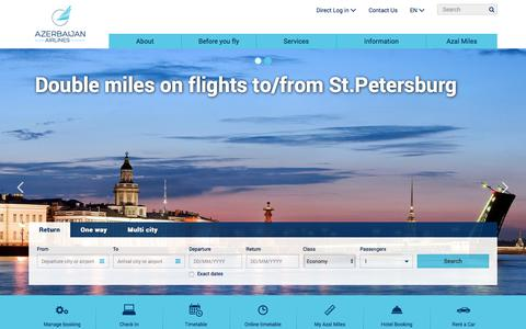 Screenshot of About Page Services Page azal.az - Azerbaijan Airlines - Book flights online - captured June 21, 2017