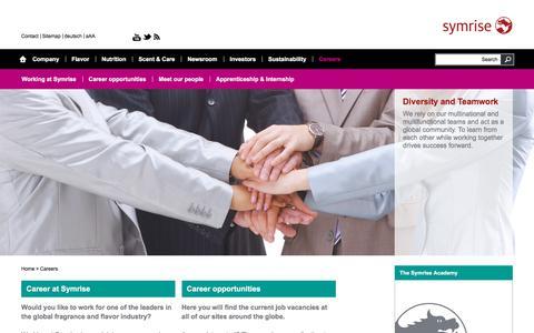 Screenshot of Jobs Page symrise.com - Careers - Symrise AG - captured Jan. 23, 2018