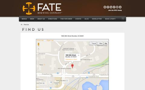 Screenshot of Maps & Directions Page fatebrewingcompany.com - Find Us - FATE Brewing Company - captured Sept. 30, 2014