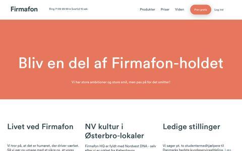 Screenshot of Jobs Page firmafon.dk - Find dit job hos Firmafon og bliv en del af holdet. - captured May 9, 2017