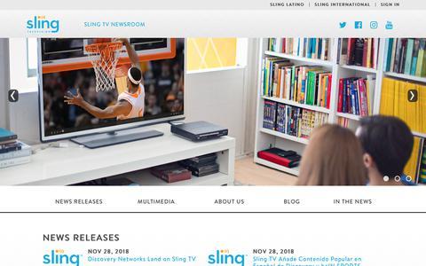 Screenshot of Press Page sling.com - Sling TV - WELCOME TO THE SLING TV NEWSROOM - captured Dec. 6, 2018