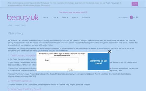 Screenshot of Privacy Page beautyukcosmetics.com - Privacy Policy - captured Nov. 9, 2018