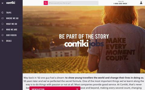Screenshot of Jobs Page contiki.com - Join the Team - captured March 17, 2018