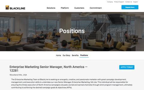Screenshot of Jobs Page blackline.com - Enterprise Marketing Senior Manager, North America| Woodland Hills, CA, United States - captured Nov. 29, 2019