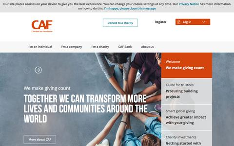 Screenshot of Home Page cafonline.org - Charities Aid Foundation (CAF) | We Make Giving Count - captured Aug. 14, 2018