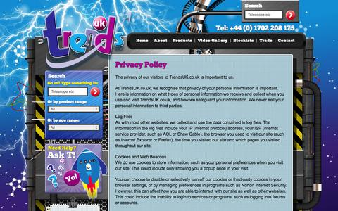 Screenshot of Privacy Page trendsuk.co.uk - Privacy Policy | Trends UK - captured Oct. 7, 2014