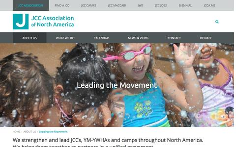 Screenshot of About Page jcca.org - Leading the Movement - JCC Association - captured Nov. 18, 2016