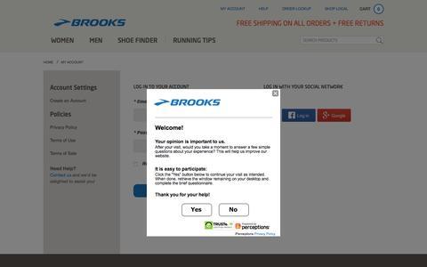 Screenshot of Login Page brooksrunning.com - Brooks Running Shoes and Apparel   Brooks Running.com - captured Oct. 20, 2015
