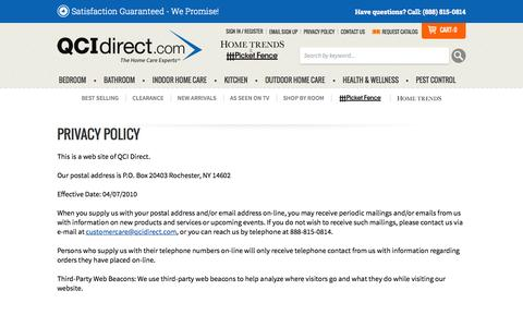 Screenshot of Privacy Page qcidirect.com - Privacy Policy | Home Care Experts - QCIDirect.com - captured July 17, 2015