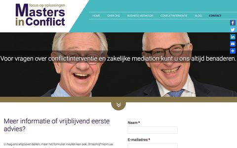 Screenshot of Contact Page mastersinconflict.nl - Contact - Masters in Conflict - captured Sept. 20, 2018