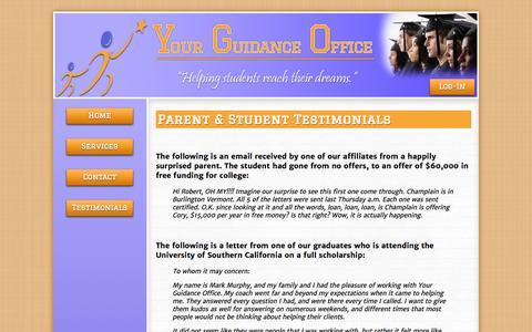 Screenshot of Testimonials Page yourguidanceoffice.org - YGO - Testimonials - captured Oct. 26, 2014