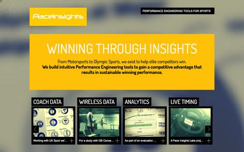 Screenshot of Home Page paceinsights.com - Pace Insights - Data to Intelligence in Sports - captured Sept. 26, 2014