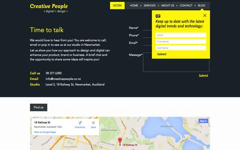 Screenshot of Contact Page creativepeople.co.nz - Contact - captured Sept. 30, 2014