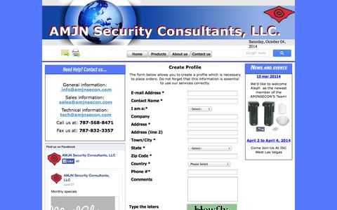 Screenshot of Contact Page amjnsecon.com - Contact us - captured Oct. 4, 2014