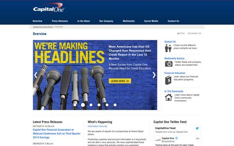 Screenshot of Press Page capitalone.com - Capital One Newsroom | Overview - captured Sept. 19, 2014