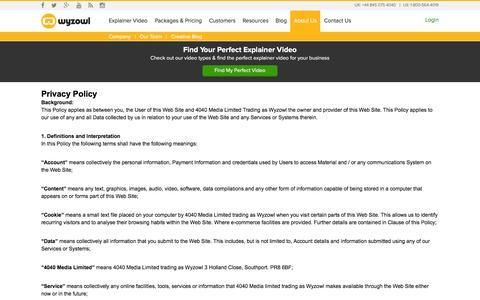 Screenshot of Privacy Page wyzowl.com - Privacy Policy | Wyzowl - captured Jan. 11, 2016
