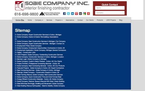 Screenshot of Site Map Page sobieco.com - Sitemap | Sobie Company - Construction Experts in Dutton, MI - captured Oct. 7, 2014