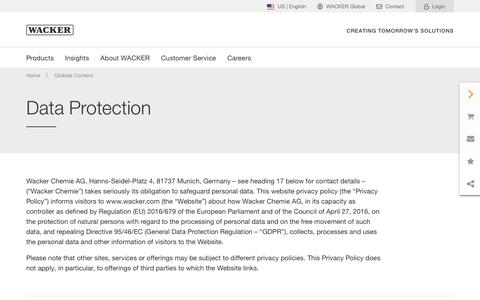 Screenshot of Privacy Page wacker.com - Data Protection - Wacker Chemie AG - captured Nov. 6, 2019