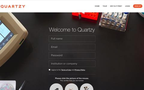 Screenshot of Signup Page quartzy.com - Quartzy - The free and easy way to manage your lab inventory, order requests, documents, and shared equipment. - captured Sept. 17, 2014