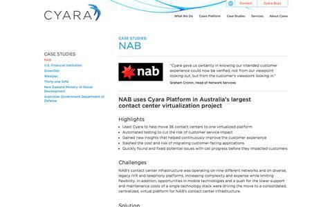 Screenshot of Case Studies Page cyara.com - Case Study: NAB Contact Center Transformation & Virtualization Cyara - captured Sept. 30, 2014