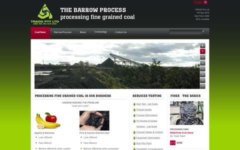 Screenshot of Home Page barrowresources.com.au - Home - THE BARROW PROCESS processing fine grained coal - captured Oct. 5, 2014