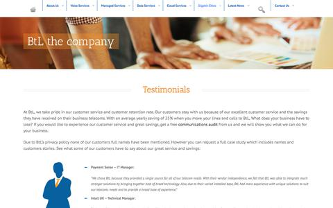 Screenshot of Testimonials Page btlc.co.uk - Testimonials | BtL - managed communication architects | Call Centre - captured Oct. 10, 2017