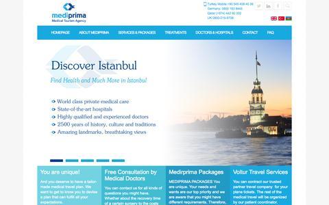 Screenshot of Home Page mediprima.com - Mediprima Medical Tourism Agency - captured Oct. 6, 2014