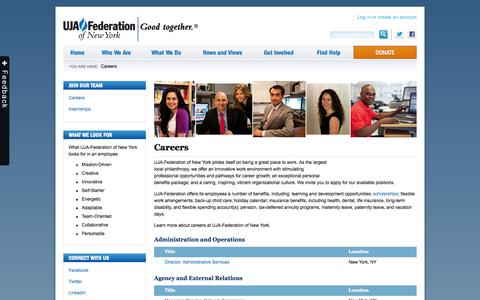 Screenshot of Jobs Page ujafedny.org - UJA-Federation Careers » UJA-Federation of New York - captured Sept. 19, 2014