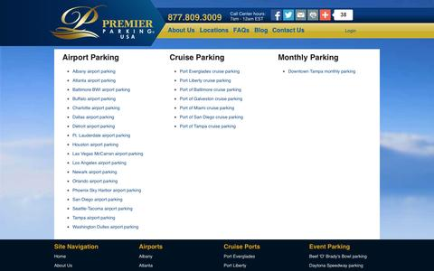 Screenshot of Locations Page premierparkingusa.com - Discount Airport Parking and Cruise Parking Locations - captured Oct. 27, 2014