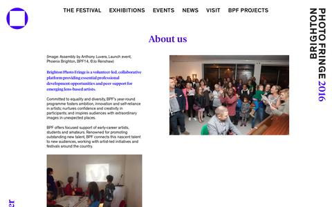 Screenshot of About Page photofringe.org - About us - Brighton Photo Fringe 2016 - captured Oct. 21, 2018