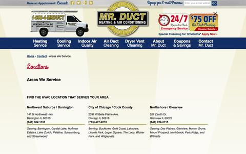 Screenshot of Locations Page mrductcleaning.com - Our Locations  -  Mr. Duct Heating & Air Conditioning - Chicago Suburbs - captured Oct. 26, 2014
