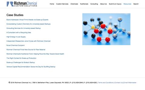 Screenshot of Case Studies Page richmanchemical.com - Case Studies — Richman Chemical Inc. | Custom Synthesis | Toll Manufacturing | Raw Material Sourcing - captured Nov. 30, 2016