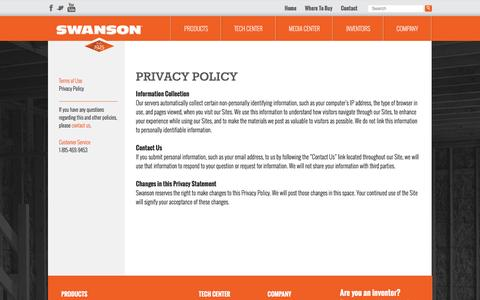 Screenshot of Privacy Page swansontoolco.com - Privacy Policy - Swanson Tool Company - captured Feb. 16, 2016