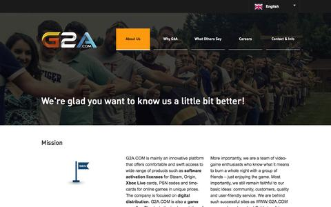 Screenshot of About Page g2a.co - G2A.COM Marketplace - captured Sept. 24, 2014