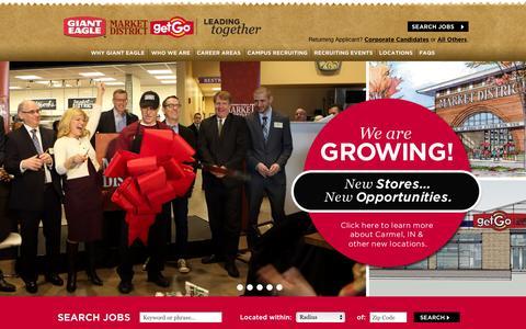 Screenshot of Jobs Page gianteagle.com - GiantEagle Career Site - captured Dec. 9, 2015