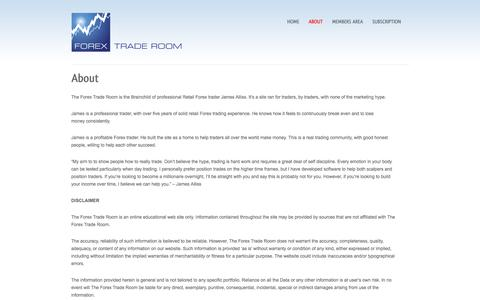 Screenshot of About Page theforextraderoom.com - The Forex Trade Room   » About - captured Oct. 6, 2014