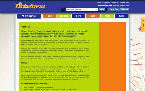 Screenshot of About Page kinderspaces.net - About US | Online Shopping for Kids in India - Kinderspaces.net - captured Sept. 30, 2014