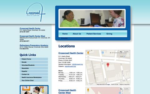 Screenshot of Contact Page Locations Page crossroadhc.org - Welcome to Crossroad Health Center - captured Oct. 22, 2014