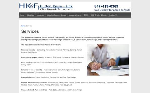Screenshot of Services Page hkf-cpa.com - Services | Hutton, Kruse and Fink Ltd. - Forensic Accountants - captured Nov. 13, 2016