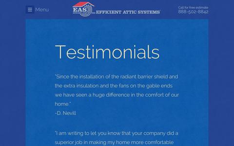 Screenshot of Testimonials Page efficientattic.com - Testimonials | Efficient Attic Systems - captured Jan. 26, 2016