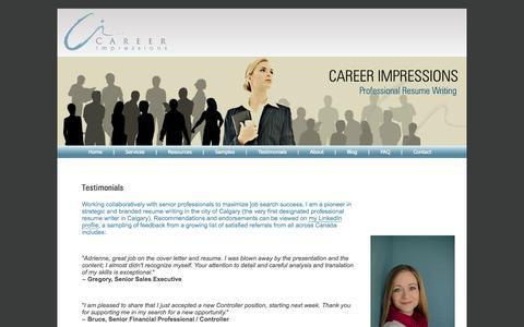 Screenshot of Testimonials Page careerimpressions.ca - Career Impressions | Canadian Resume Writing | Canadian Executive Resume Writer | Calgary Resume Writer - captured Sept. 30, 2014
