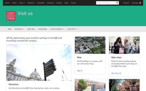 Screenshot of Locations Page cardiff.ac.uk - Visit us - Cardiff University - captured June 14, 2016